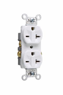 Pass & Seymour 5850W 20 Amp 250 VAC 2-Pole 3-Wire NEMA 6-20R White Nylon Face Thermoplastic Back Body Duplex Receptacle