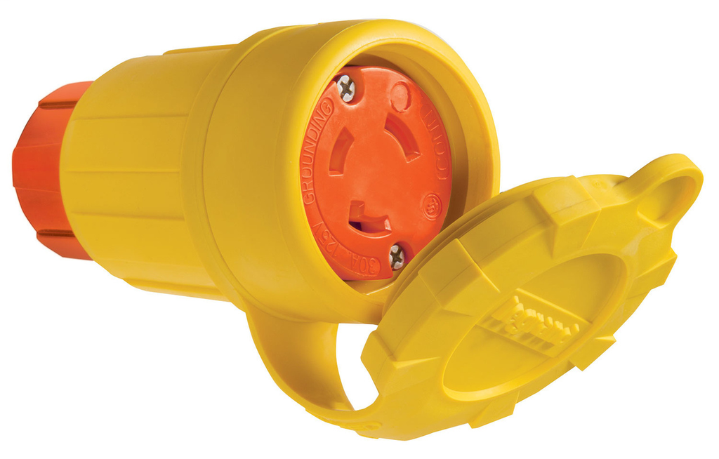 Pass & Seymour 29W47AM 30A 125V Locking Anti Microbial IP67 L5-30R Connector, Orange/Yellow