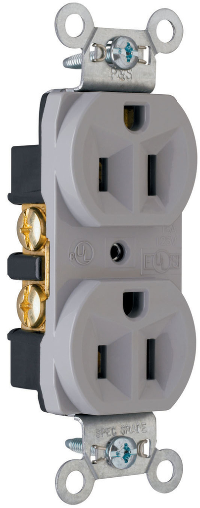 Pass & Seymour CRB5262-GRY 15 Amp 125 VAC 2-Pole 3-Wire NEMA 5-15R Gray Nylon Face Duplex Straight Blade Receptacle