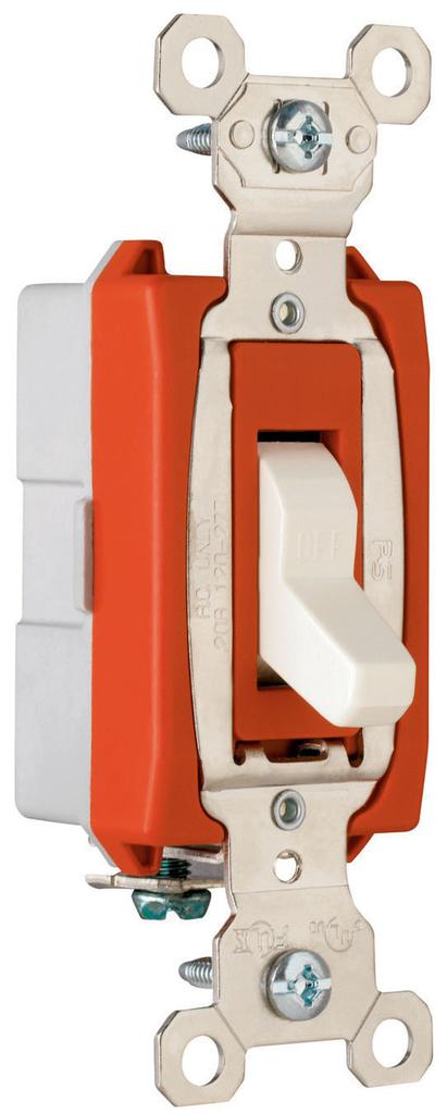 Pass & Seymour PS20AC1-W 20 Amp 120/277 VAC 1-Pole White Glass Reinforced Nylon Screw Mounting Toggle Switch