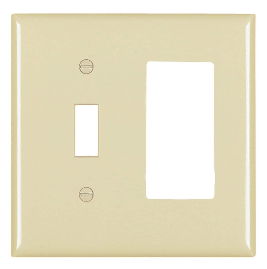 Pass & Seymour TP126-I 2-Gang 1-Toggle Switch 1-Decorator Ivory Nylon Standard Combination Unbreakable Wallplate