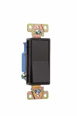 Pass & Seymour 2601-BK 15 Amp 120/277 VAC 1-Pole Black Polycarbonate Screw Mounting Rocker Decorator Switch