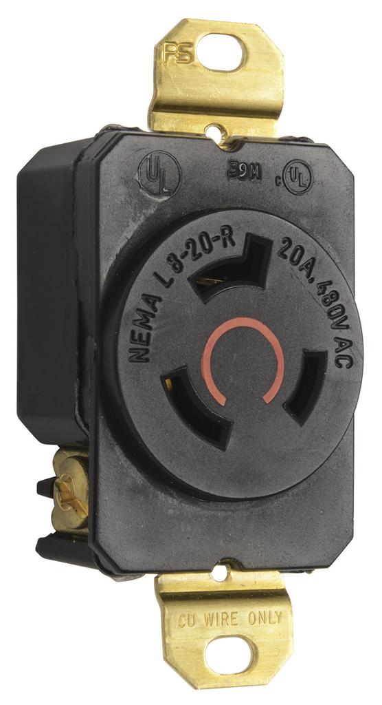 Pass & Seymour L820-R 20 Amp 480 VAC 2-Pole 3-Wire NEMA L8-20R Impact-Resistant Nylon Locking Single Receptacle