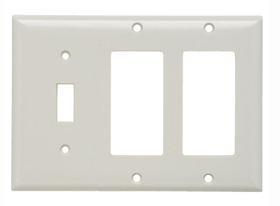 Pass & Seymour SP1262-LA 3-Gang 1-Toggle 2-Decorator Light Almond Smooth Thermoset Plastic Standard Combination Wallplate