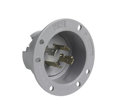 Pass & Seymour L1420-FI 20 Amp 125/250 Volt 4-Wire NEMA L14-20P Gray Brass Locking Device Flanged Inlet