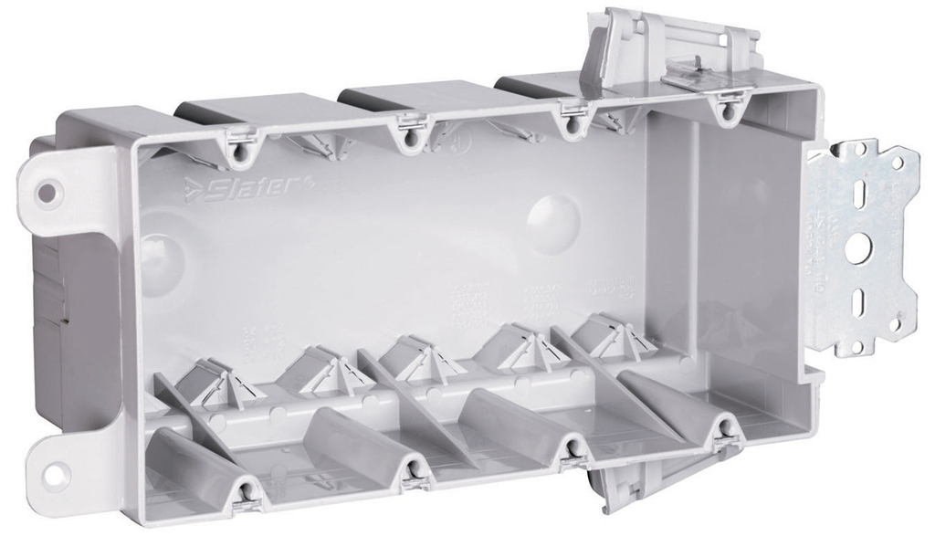 Pass & Seymour S4-68-S50AC 3-3/4 x 7-13/16 x 3 Inch 68 In 4-Gang Plastic Stud Bracket Box