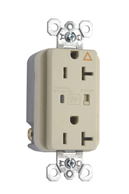 Pass & Seymour IG5362ISP 20 Amp 125 VAC 2-Pole 3-Wire NEMA 5-20R Ivory Nylon Duplex Isolated Ground Receptacle
