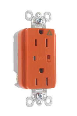 Pass & Seymour IG5262OSP 15 Amp 125 VAC 2-Pole 3-Wire NEMA 5-15R Orange Nylon Duplex Isolated Ground Receptacle