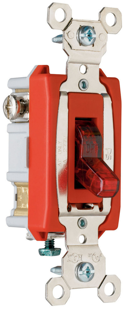 Pass & Seymour PS20AC1-RPL7 20 Amp 277 VAC 1-Pole Red Glass Reinforced Nylon Screw Mounting Pilot Lighted Toggle Switch