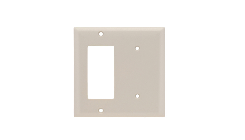 Pass & Seymour SP1426-LA 2-Gang 1-Blank 1-Decorator Light Almond Smooth Thermoset Plastic Standard Combination Wallplate