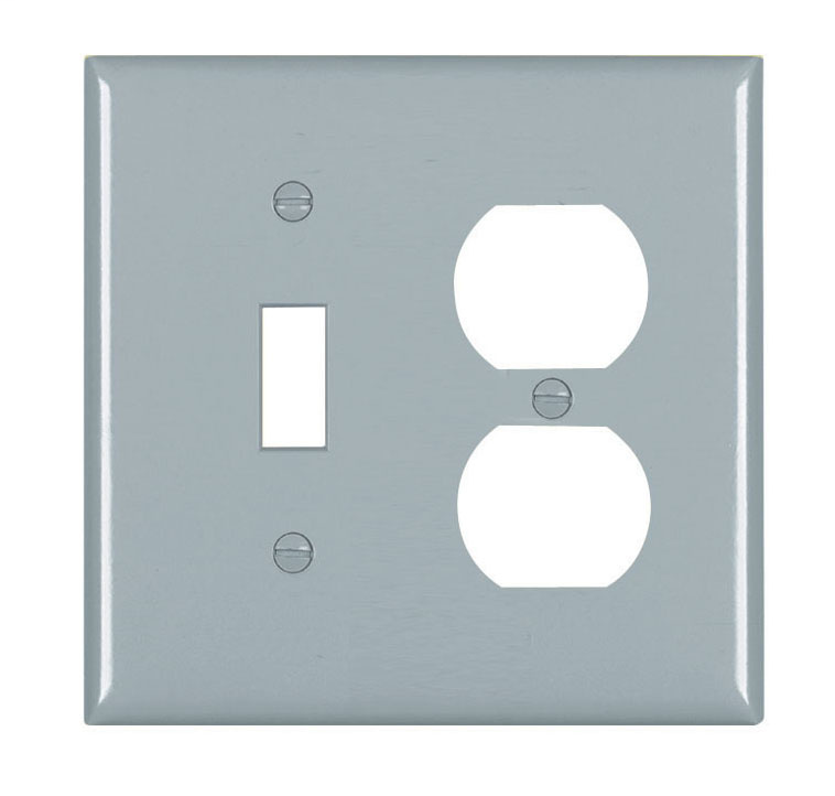 Pass & Seymour TP18-GRY 2-Gang 1-Toggle Switch 1-Duplex Receptacle Gray Nylon Standard Combination Unbreakable Wallplate