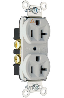 Pass & Seymour IG5362-GRY 20 Amp 125 VAC 2-Pole 3-Wire NEMA 5-20R Gray Nylon Face Duplex Isolated Ground Receptacle