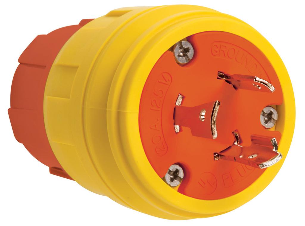 Pass & Seymour 26W47AM 20A 125V Locking Anti Microbial IP67 L5-20P Plug, Orange/Yellow