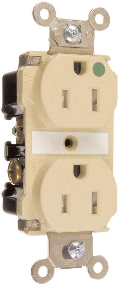 Pass & Seymour TR63-HI 20 Amp 125 VAC 2-Pole 3-Wire NEMA 5-20R Ivory Nylon Tamper-Resistant Duplex Receptacle