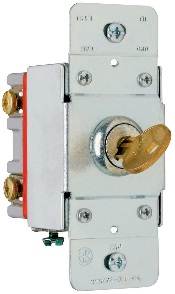 Pass & Seymour PS20AC2-KL 20 Amp 120/277 VAC 2-Pole Back and Side Wire Screw Mount Lock Switch