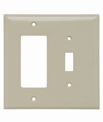 Pass & Seymour SPJ126-I 2-Gang 1-Toggle 1-Decorator Ivory Smooth Thermoset Plastic Junior-Jumbo Combination Wallplate