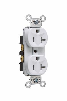 Pass & Seymour TR5362-W 20 Amp 125 VAC 2-Pole 3-Wire NEMA 5-20R White Nylon Face Tamper-Resistant Duplex Receptacle