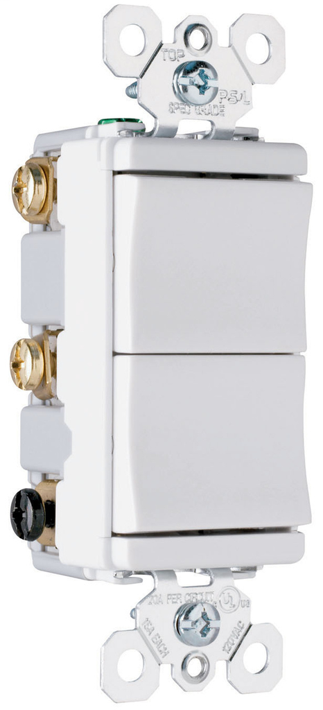 Pass & Seymour TM833-LACC Decorator Combo, Two 3-Way Switches, Light Almond