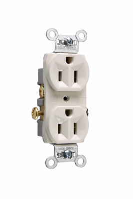 Pass & Seymour CR15-LA 15 Amp 125 VAC 2-Pole 3-Wire NEMA 5-15R Light Almond Nylon Face Corrosion-Resistant Duplex Receptacle
