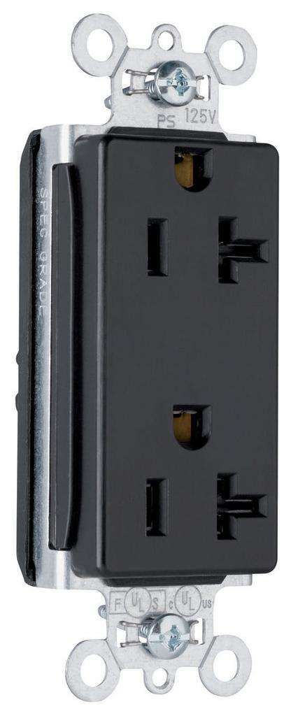 Pass & Seymour PT26352-BK PlugTail 20 Amp 125 Volt Black Duplex Decorator Receptacle