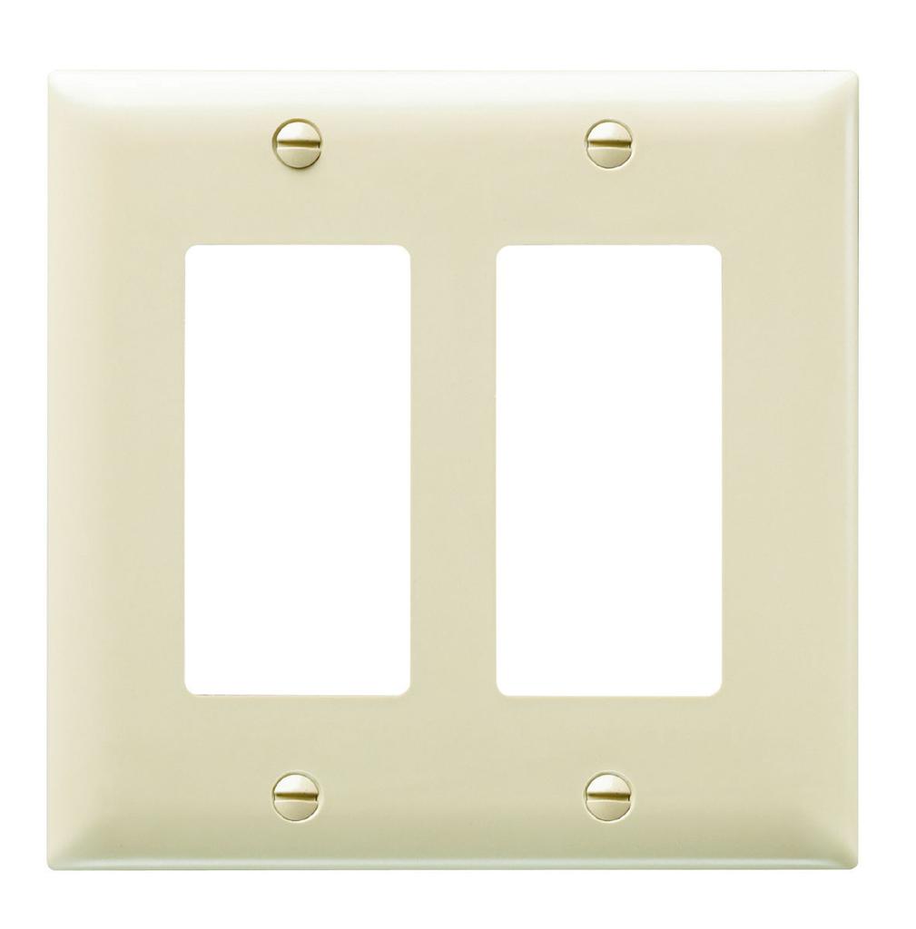 Wattstopper TP262-I 2-Gang 2-Decorator Ivory Nylon Standard Unbreakable Wallplate