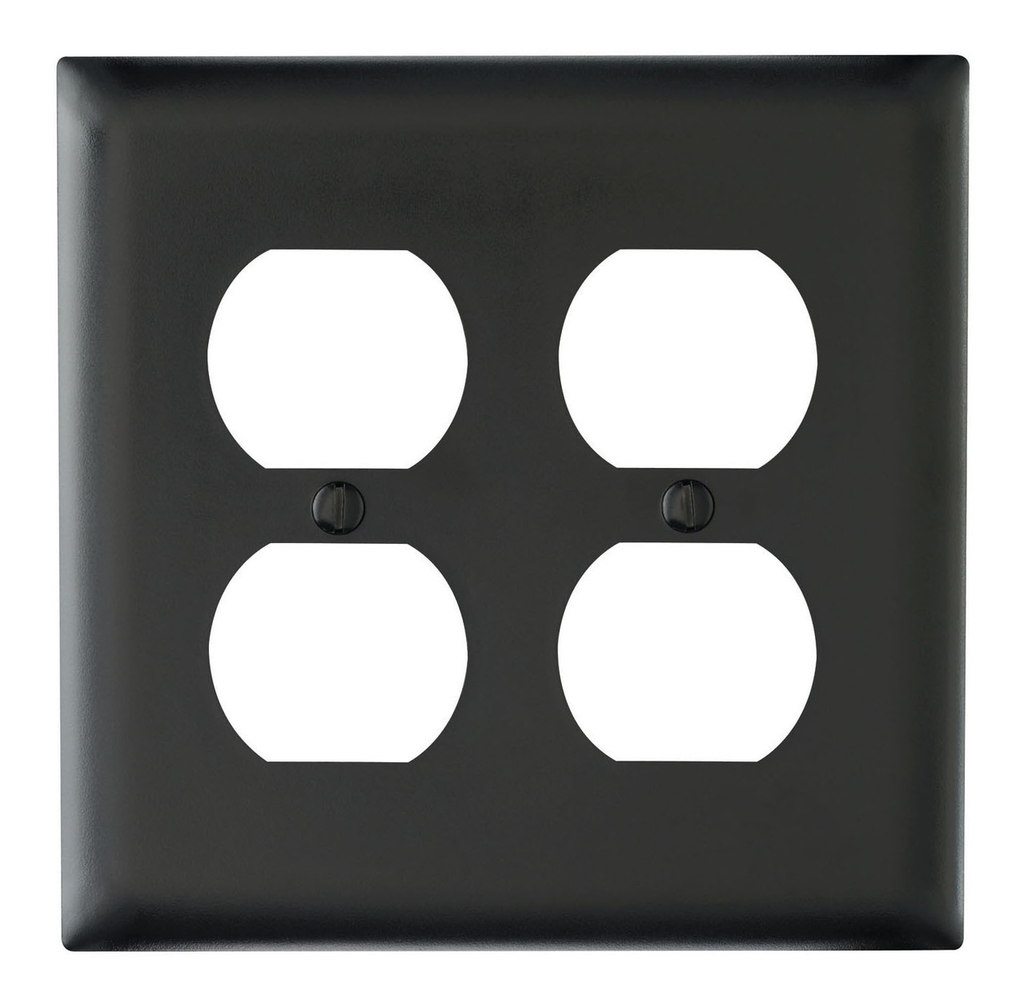 Pass & Seymour TP82-BK 2-Gang 2-Duplex Receptacle Black Nylon Standard Unbreakable Wallplate
