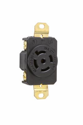 Pass & Seymour L2220-R 20 Amp 277/480 VAC 3-Phase 4-Pole 5-Wire NEMA L22-20R Impact-Resistant Nylon Locking Single Receptacle