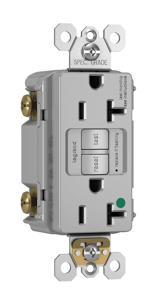 Pass & Seymour 2097-HGGRY 20 Amp 125 VAC 2-Pole 3-Wire NEMA 5-20R Gray Thermoplastic Self-Test Duplex GFCI Receptacle
