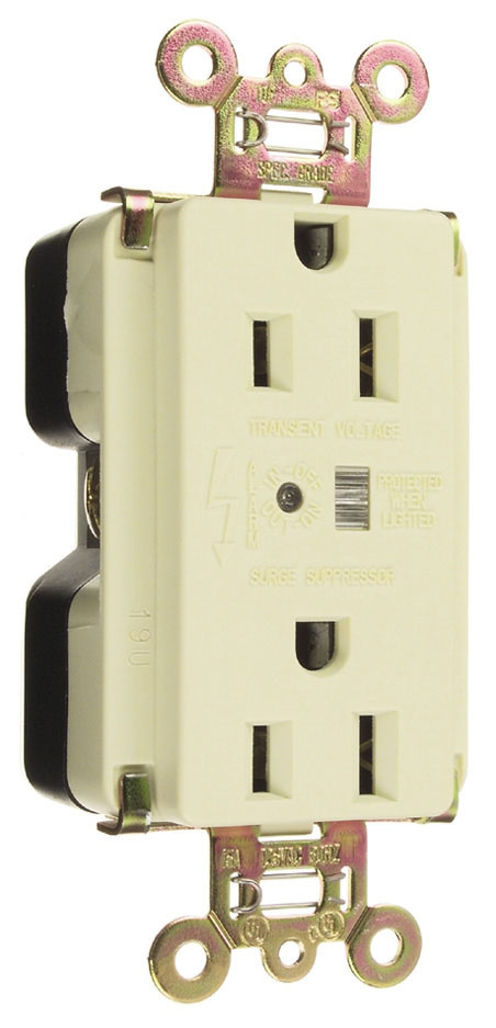 Pass & Seymour 5262-SP Surge Protective Extra Heavy-Duty Duplex Receptacle, Back & Side Wire, 15A 125V - Brown