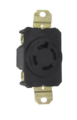 Pass & Seymour L1620-R 20 Amp 480 VAC 3-Phase 3-Pole 4-Wire NEMA L16-20R Impact Resistant Nylon Locking Single Receptacle