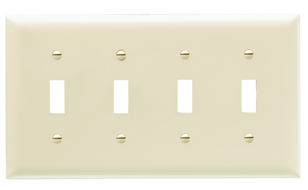 Pass & Seymour TP4-I 4-Gang 4-Toggle Switch Ivory Nylon Standard Unbreakable Wallplate