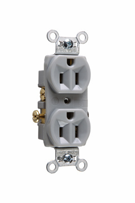 Pass & Seymour CR15-GRY 15 Amp 125 VAC 2-Pole 3-Wire NEMA 5-15R Gray Nylon Face Corrosion-Resistant Duplex Receptacle