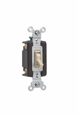 Pass & Seymour 664-IG 15 Amp 120 VAC 4-Way Ivory Thermoplastic Screw Mounting Grounding Toggle Switch