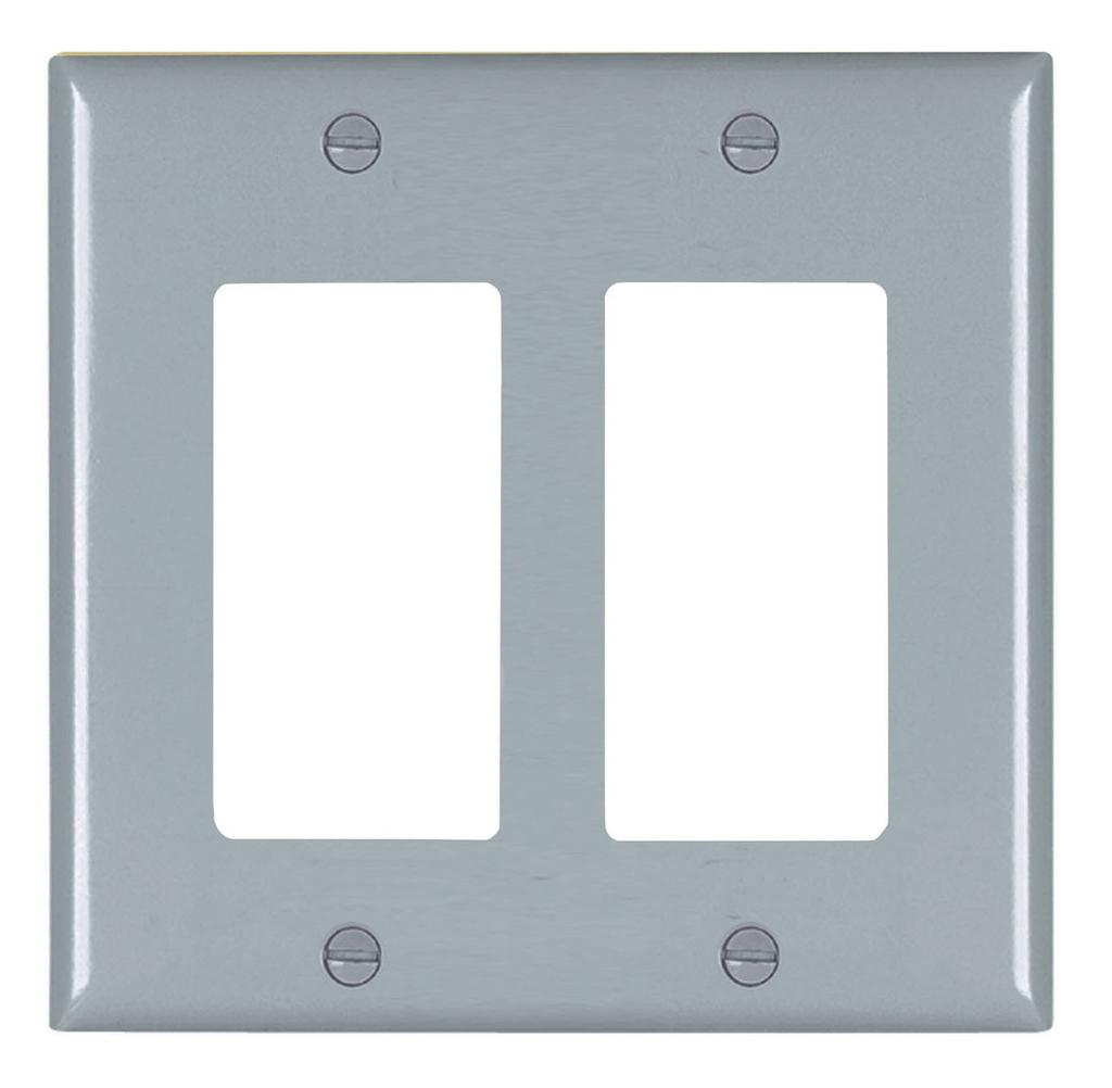 Wattstopper TP262-GRY 2-Gang 2-Decorator Gray Nylon Standard Unbreakable Wallplate