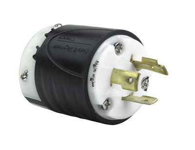 Pass & Seymour L720-P 20 Amp 277 VAC 2-Pole 3-Wire NEMA L7-20P Black and White Nylon Straight Locking Plug