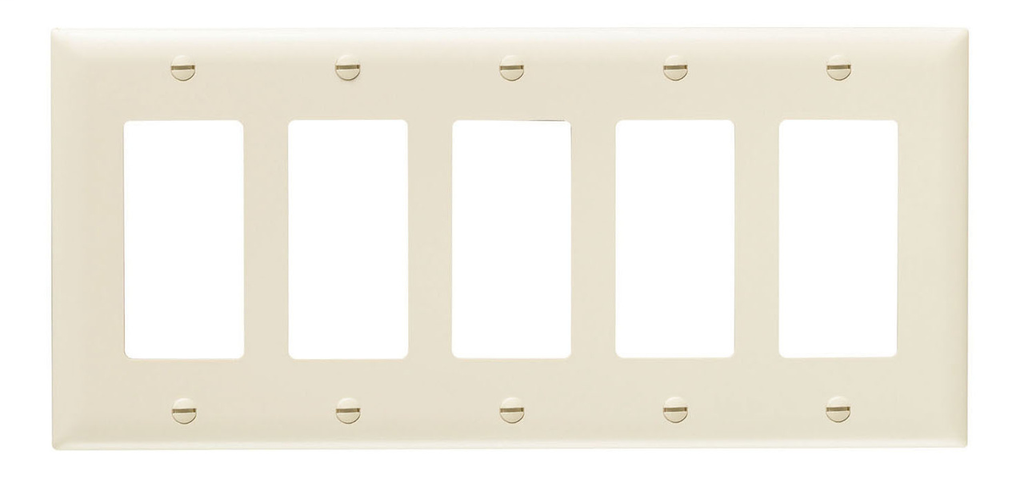 Pass & Seymour TP265-LA 5-Gang 5-Decorator Light Almond Nylon Standard Unbreakable Wallplate