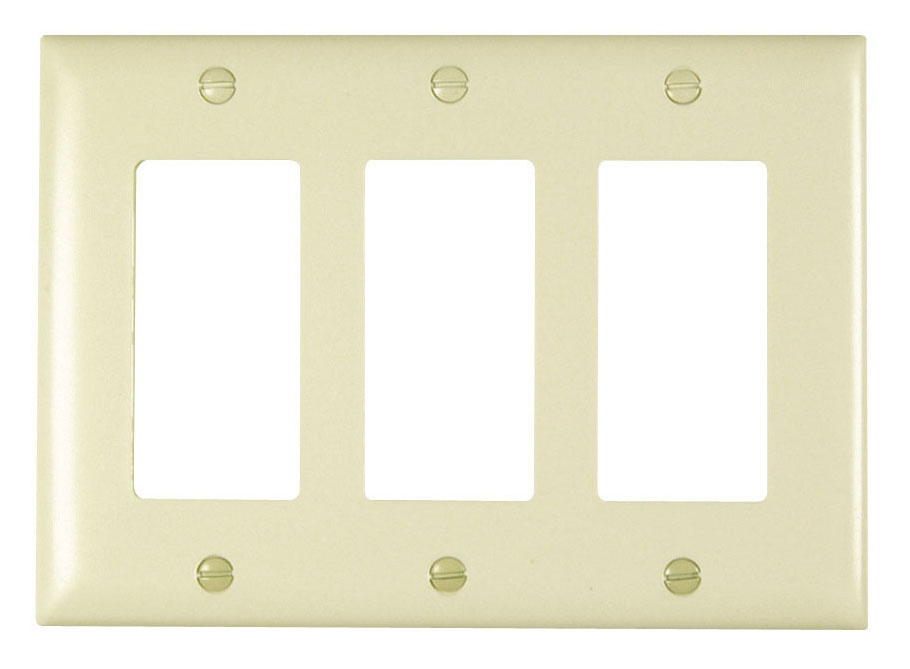 Wattstopper TP263-LA 3-Gang 3-Decorator Light Almond Nylon Standard Unbreakable Wallplate