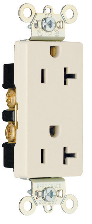 Pass & Seymour 26352-LA 20 Amp 125 VAC 2-Pole 3-Wire NEMA 5-20R Light Almond Nylon Face Heavy Duty Duplex Decorator Receptacle