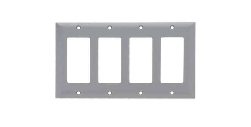 Pass & Seymour SP264GRY 4-Gang 4-Decorator Gray Smooth Thermoset Plastic Standard Wallplate