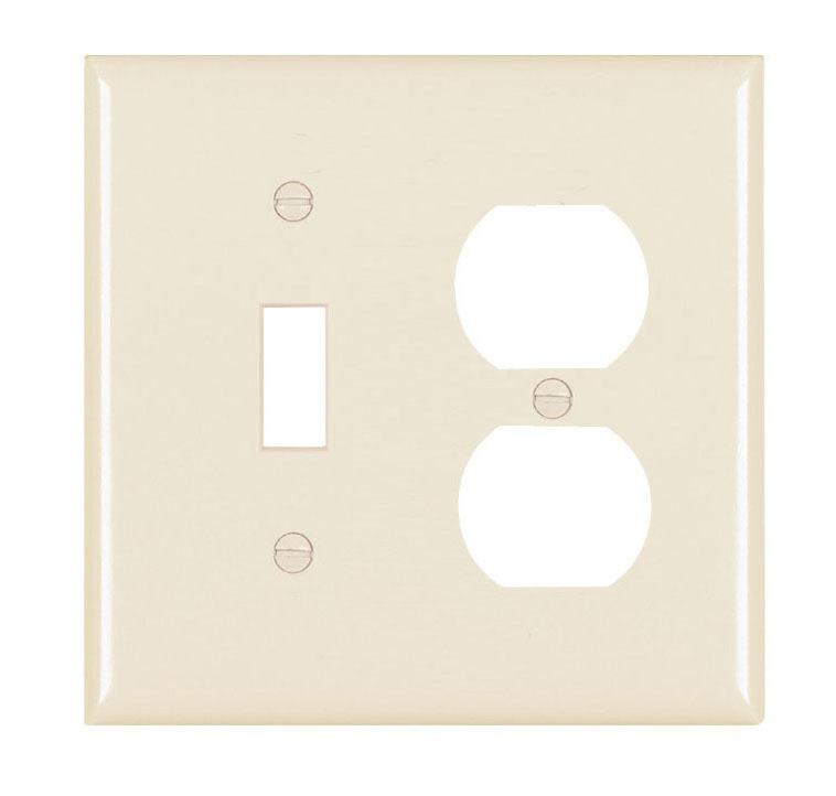 Pass & Seymour TP18-LA 2-Gang 1-Toggle Switch 1-Duplex Receptacle Light Almond Nylon Standard Combination Unbreakable Wallplate