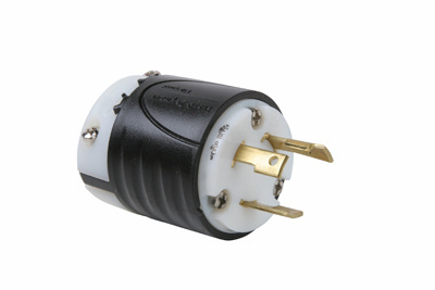 Pass & Seymour L530-P 30 Amp 125 VAC 2-Pole 3-Wire NEMA L5-30P Black and White Nylon Straight Locking Plug