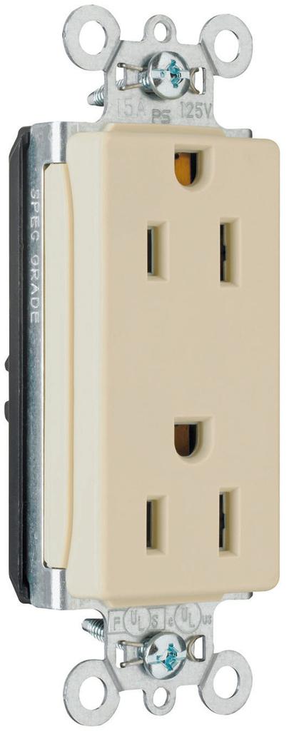 Pass & Seymour PT26252-LA 15 Amp 125 VAC 2-Pole 3-Wire NEMA 5-15R Light Almond Nylon Face Duplex Decorator Receptacle