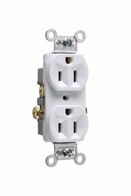 Pass & Seymour CR15-W 15 Amp 125 VAC 2-Pole 3-Wire NEMA 5-15R White Nylon Face Corrosion-Resistant Duplex Receptacle