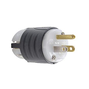 Pass & Seymour PS5266-XGCM 15 Amp 125 VAC 2-Pole 3-Wire NEMA 5-15P Black and White Nylon Polarized Straight Blade Plug