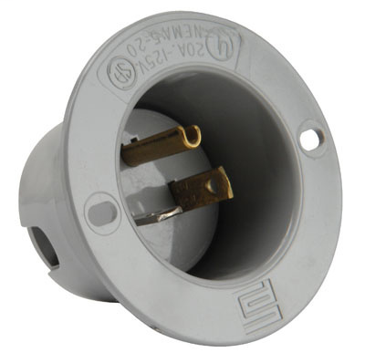 Pass & Seymour 5378-SS 20 Amp 125 Volt 2-Pole 3-Wire NEMA 5-20P Gray Thermoplastic Straight Blade Flanged Inlet