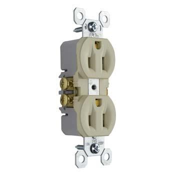 Pass & Seymour 3232-I 15 Amp 125 VAC 2-Pole 3-Wire NEMA 5-15R Ivory Thermoplastic Duplex Receptacle