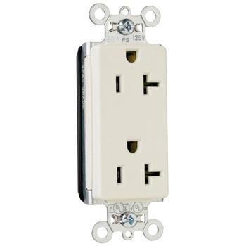 Pass & Seymour PT26352-LA 20 Amp 125 VAC 2-Pole 3-Wire NEMA 5-20R Light Almond Nylon Face Duplex Decorator Receptacle