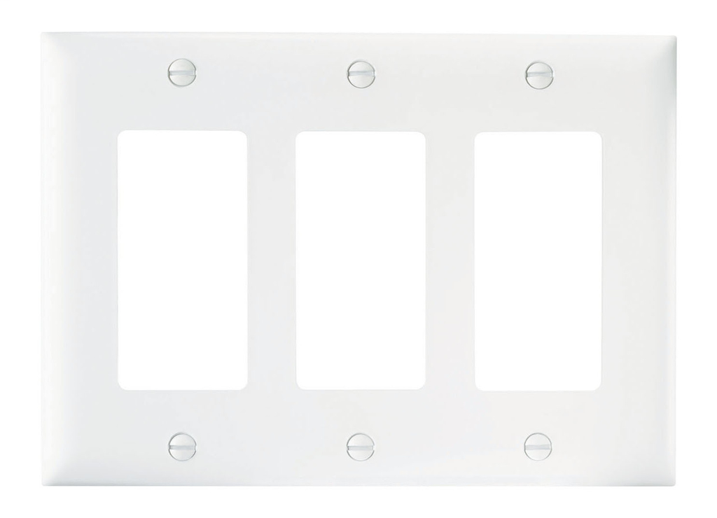Wattstopper TP263-W 3-Gang 3-Decorator White Nylon Standard Unbreakable Wallplate