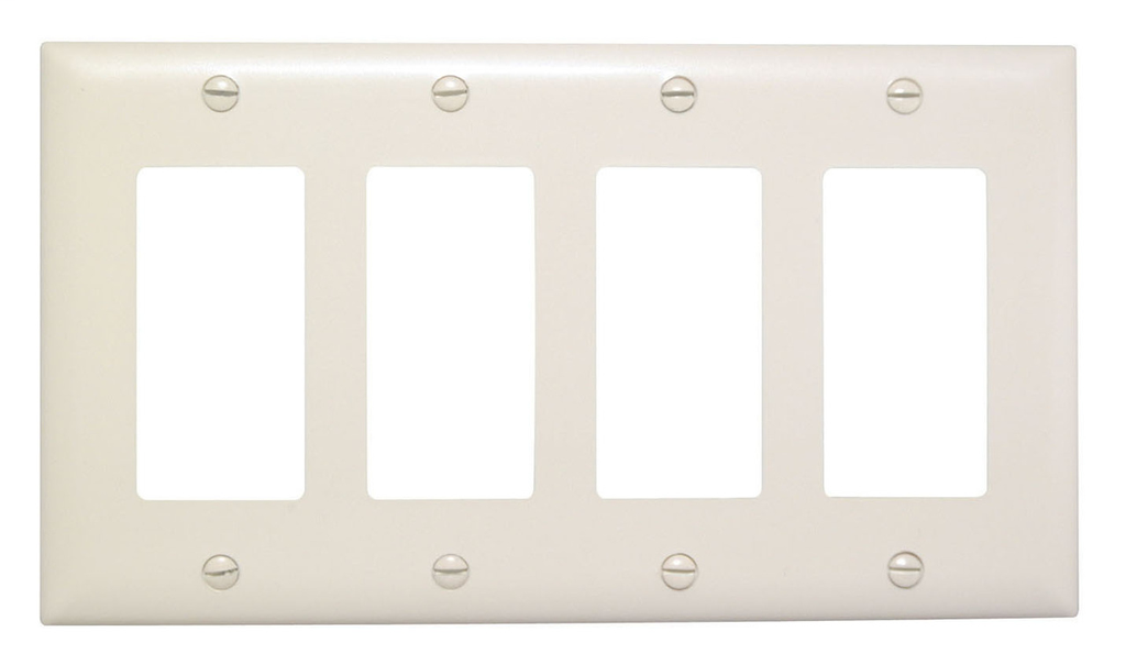 Pass & Seymour TP264-BK 4-Gang 4-Decorator Black Nylon Standard Unbreakable Wallplate