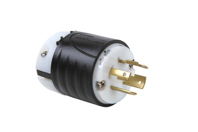 Pass & Seymour L1520-P 20 Amp 250 VAC 3-Phase 3-Pole 4-Wire NEMA L15-20P Black and White Nylon Straight Locking Plug